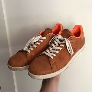 Brown leather men's adidas stan smith sneakers